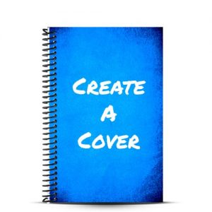 blue journal cover with create a cover written on it