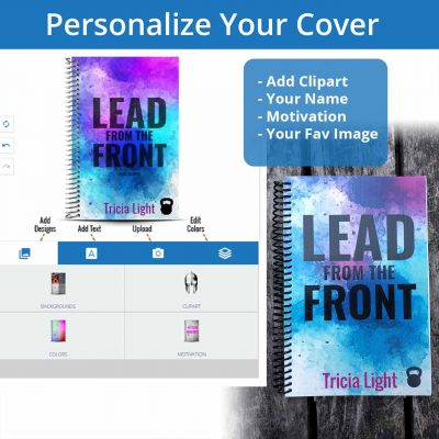 Personalize your fitness journal cover with clipart, motivaiton, your uploaded image and name