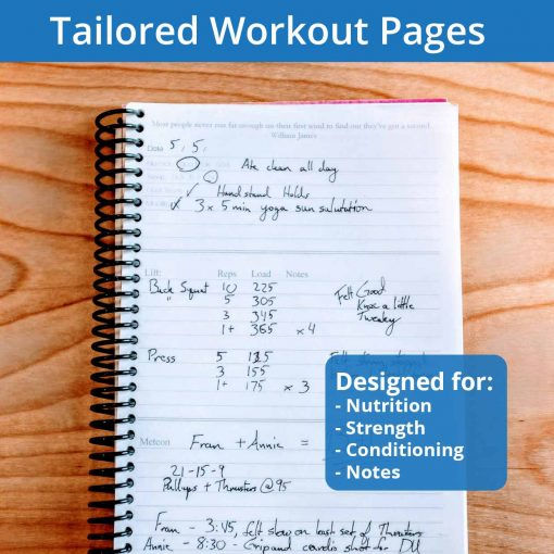Tailored fitness journal workout pages are built for nutrition, strength, conditioning and note taking