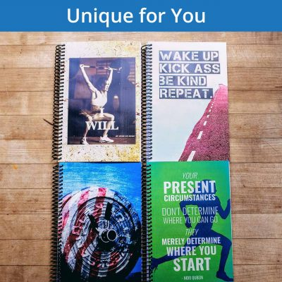 Create the perfect unique fitness journal to record your workouts and take down your goals!