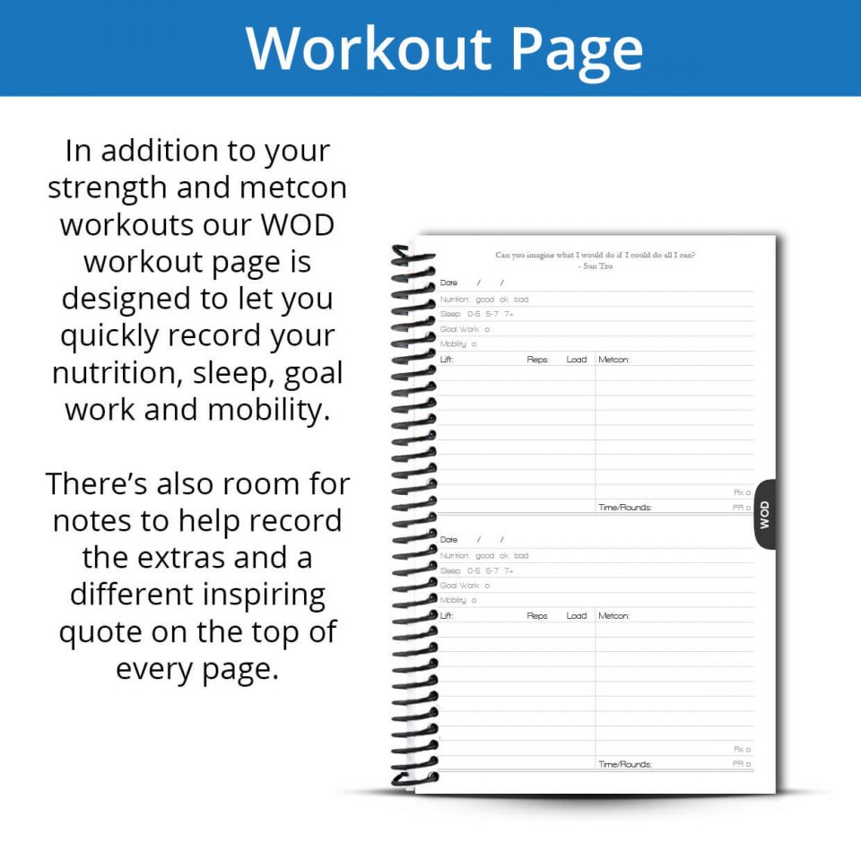 The Fitness Journal Workout Page helps you keep track of your most important metrics