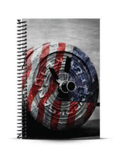 Weightlifting workout journal with american flag art draped over barbell