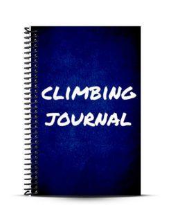 dark blue journal cover with climbing journal written on it
