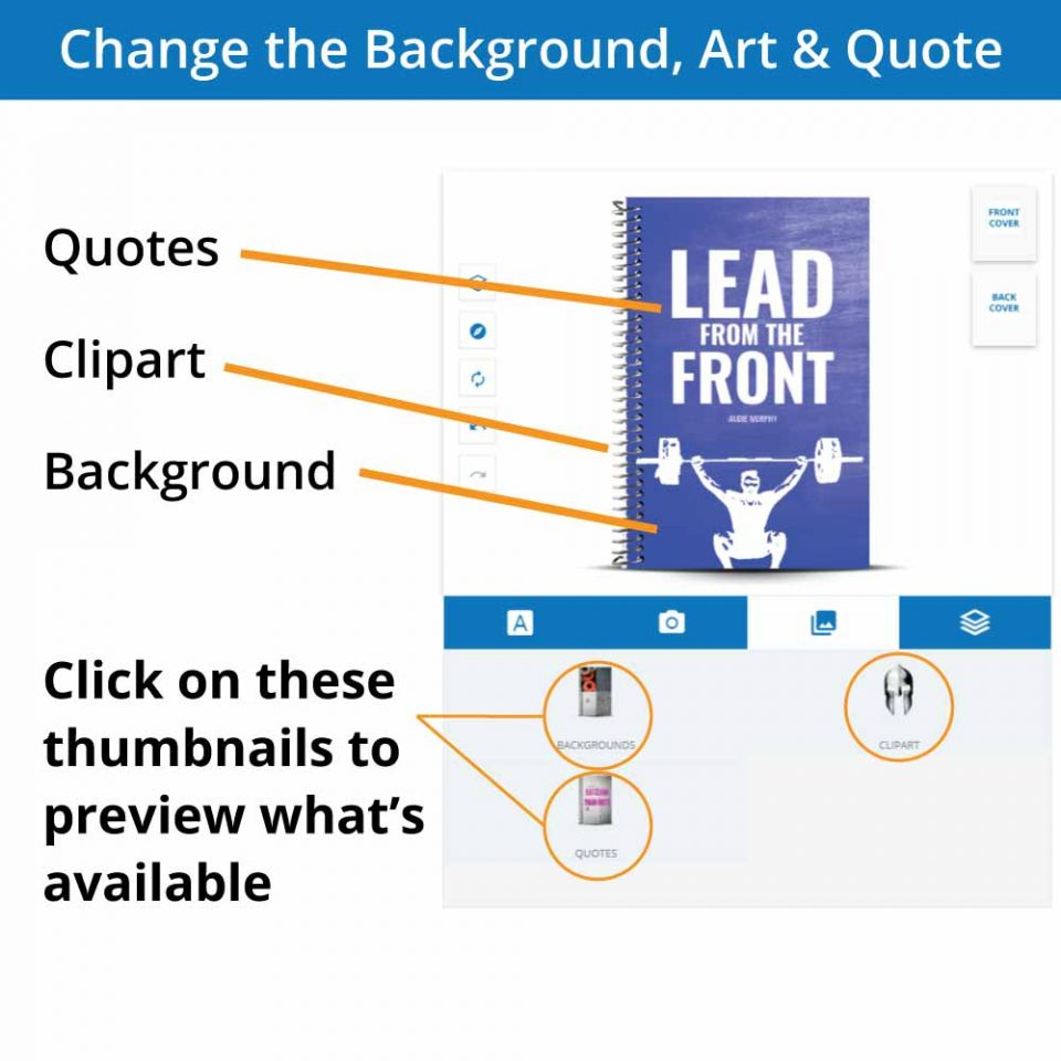 Overview of the artwork options of the custom cover designer for a fitness journal