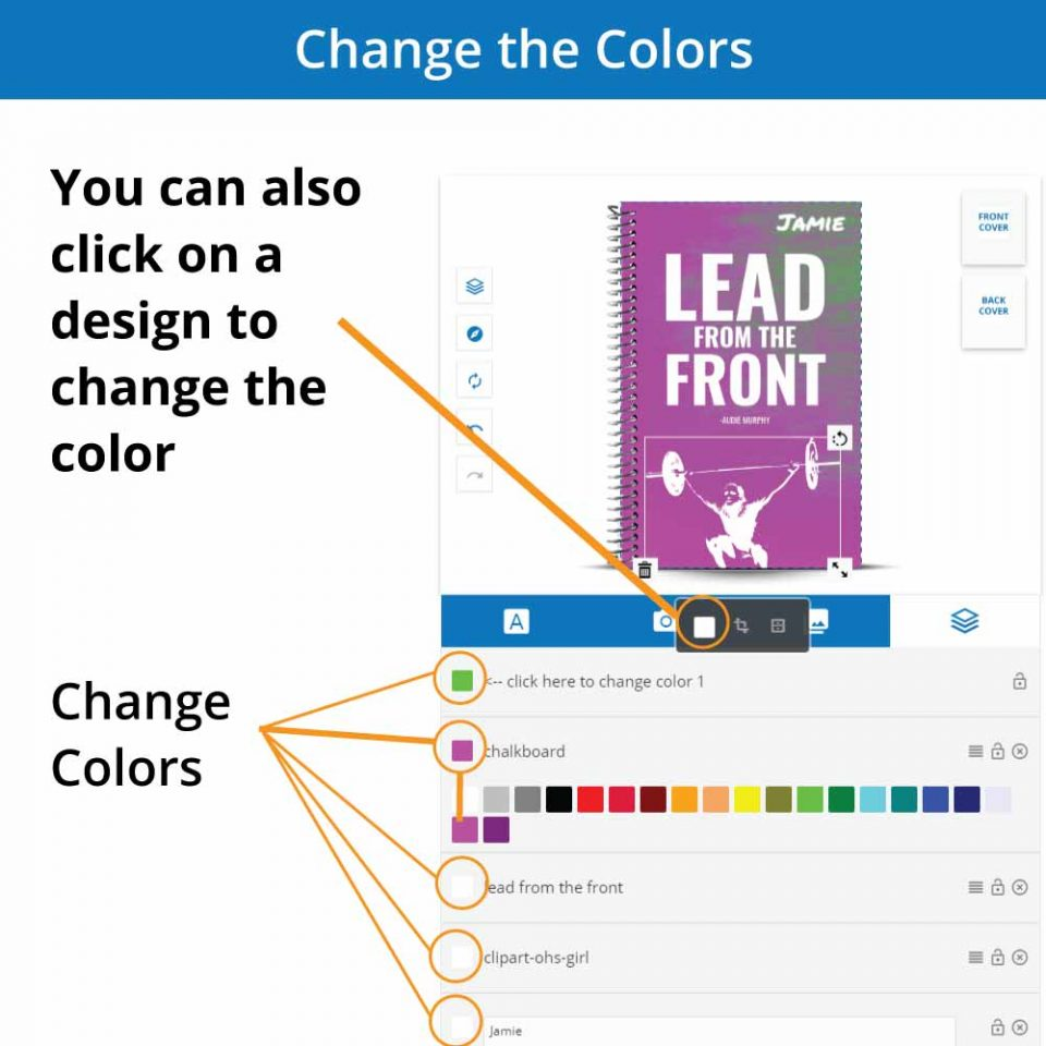 Overview of how to change the colors of the custom cover designer