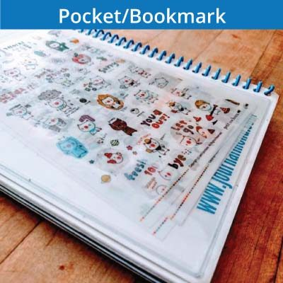 Fitness journal accessories, store extra papers in a plastic pocket and keep track of your goals with the goal bookmark