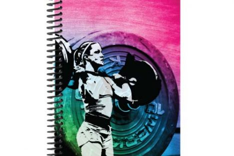 Girls Who Lift rainbow weightlifting journal with barbell and clipart