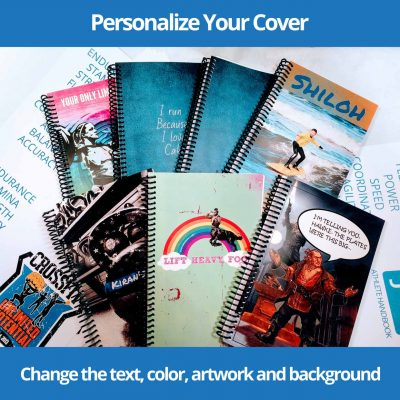 You can Personalize your workout journal cover easily, changing the text, color, background and artwork with just a few clicks