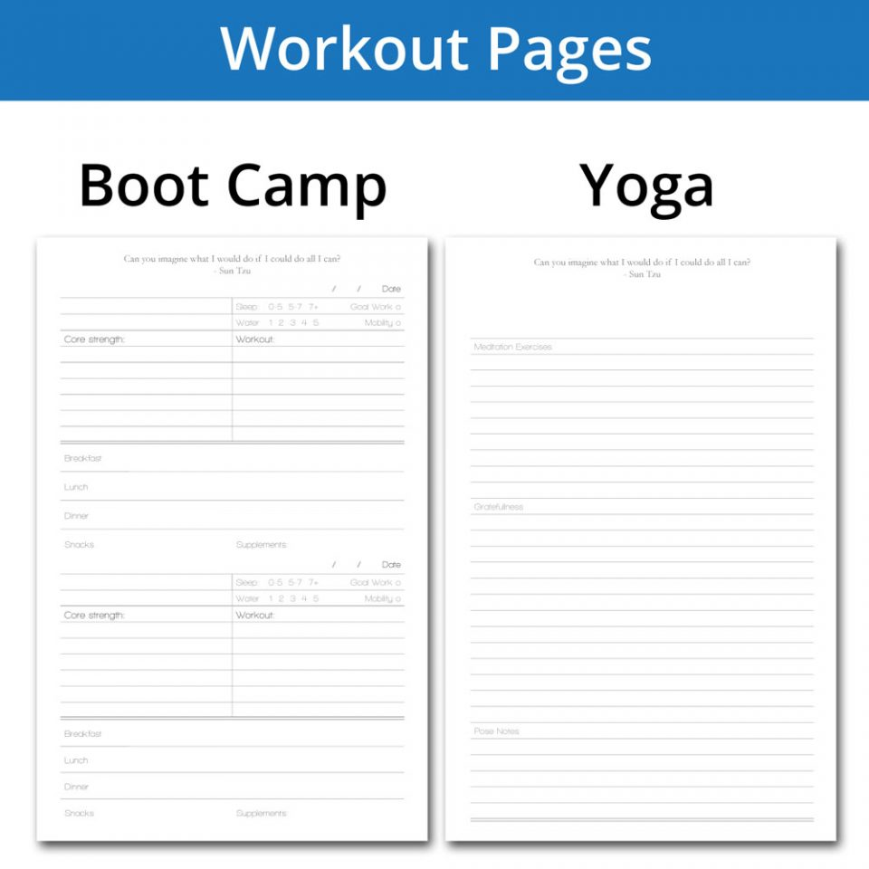 Bootcamp and Yoga journal pages