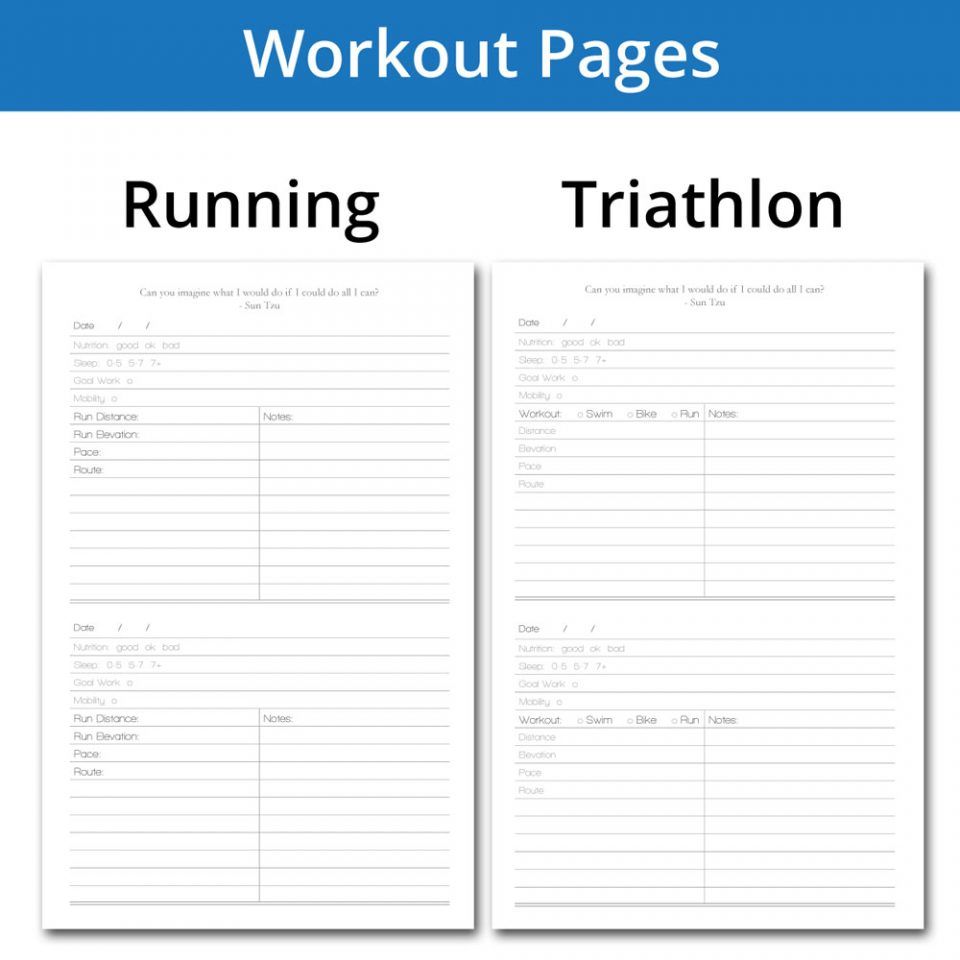 Running and triathlon workout tracking pages for our fitness diary