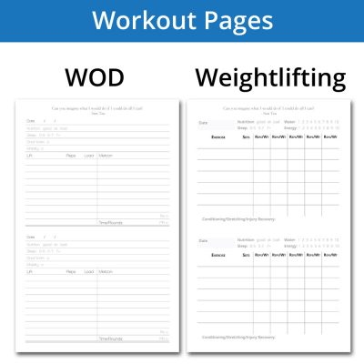 WOD journal and weightlifting journal internal tracking pages