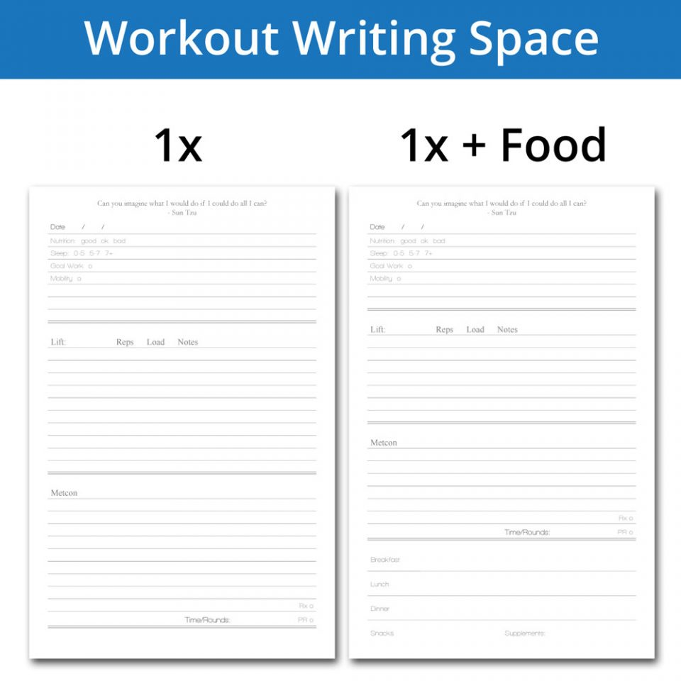 Workout journal writing page
