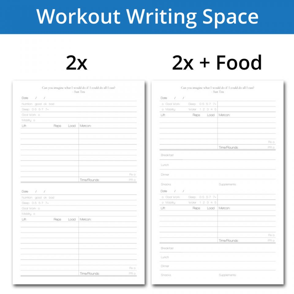 Workout diary with writing space for 2 workouts a day