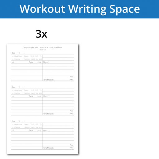 Fitness journal workout tracking 3 workouts per page
