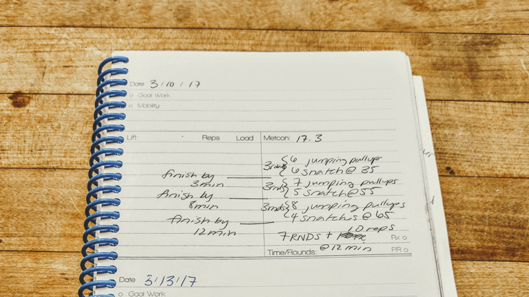 Training Log Workout Page for weightlifting and Conditioning