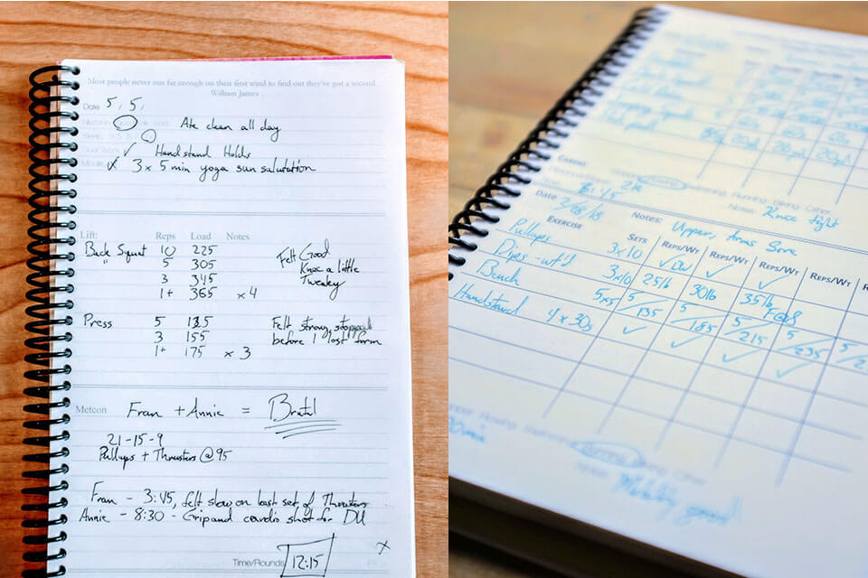 Build a Journal writing pages for fitness and weightlifting