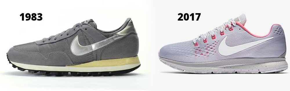 Nike Pegasus 1983 versus the Nike Pegasus 34 2017 edition
