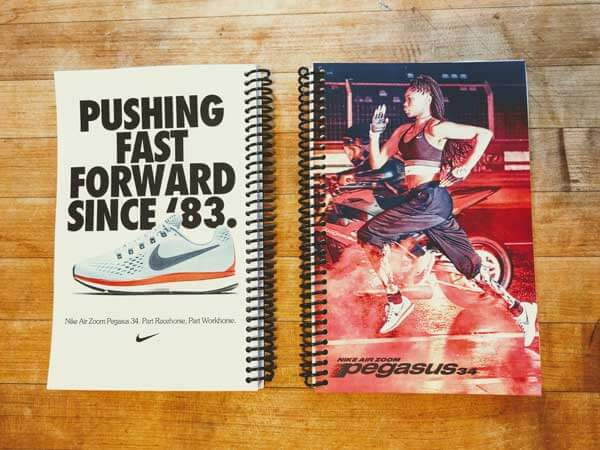 The full spread of the Nike Pegasus 34 running journals