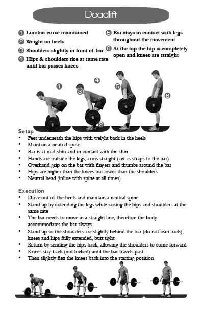 Deadlift journal page with movement description and technique setup