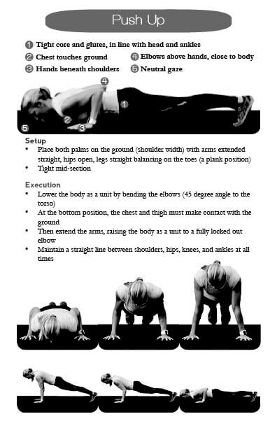 journal page displaying push-up technique