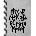 Wak up kick ass repeat fitness journal motivation