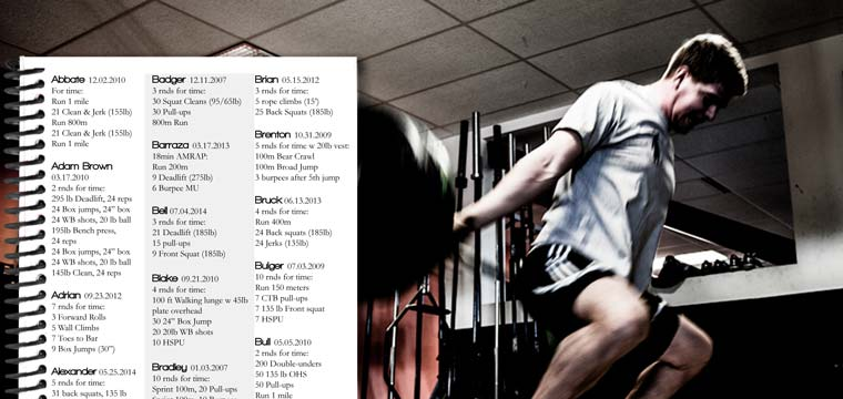 CrossFit journal with CrossFit Benchmarks