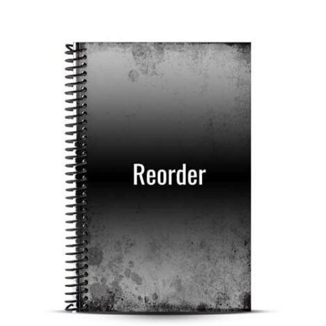 black and grey journal on white background with reorder words on front