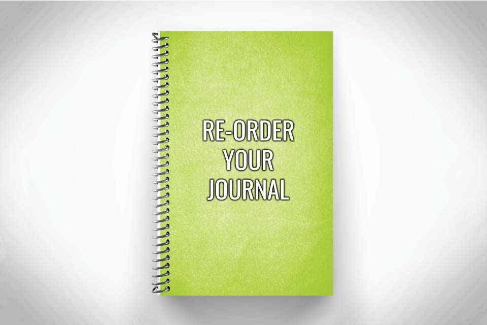 Green journal reorder on gray background