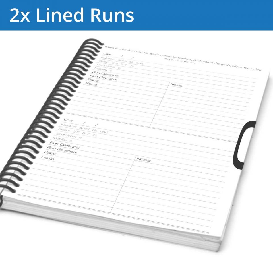 The running Journal workout page allows you to track your distance, elevation, pace, and Route and gives you a large section for your notes. This is in addition to tracking your nutrition, water and goal/mobility work.