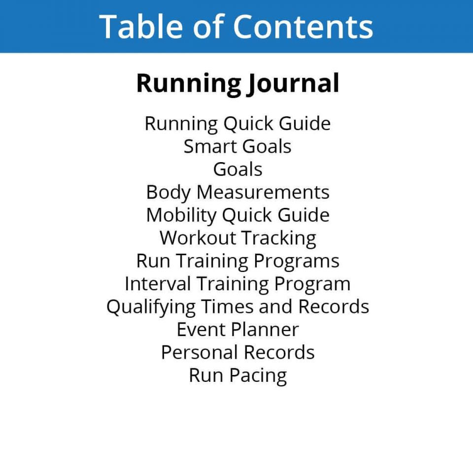 Running Journal table of contents