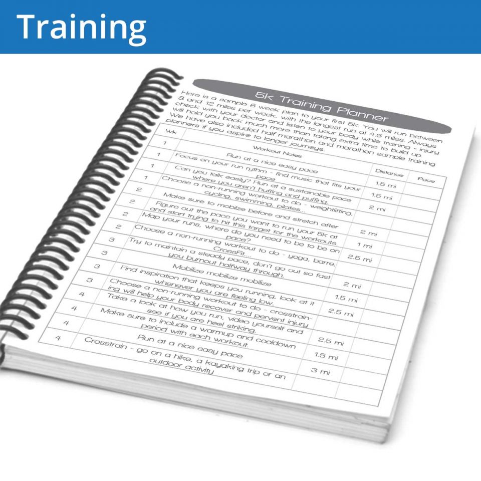 The Running Journal training planner page is an example page of what a solid training plan might look like, followed by blank templates for you to write your own