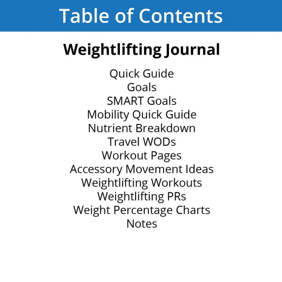 Weightlifting Table of Contents