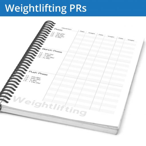 The Weightlifting Journal PR page is focuses on recording your personal records, giving you a tool to look at your progression over time. By recording the dates you can flip back to the relevant day and see the details of how you succeeded.