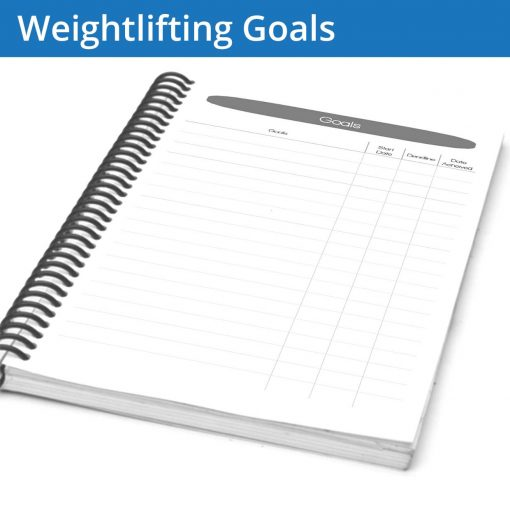 The Weightlifting Journal goal page is a lean and focused goal page, with a large table for filling out your goals and marking their start and finish dates.