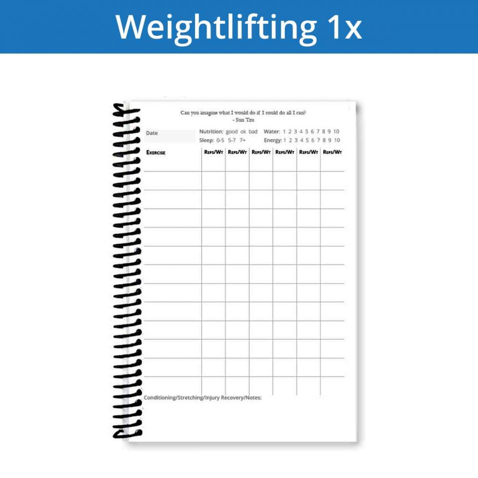 Weightlifting journal workout page 1x is perfect for writing lots