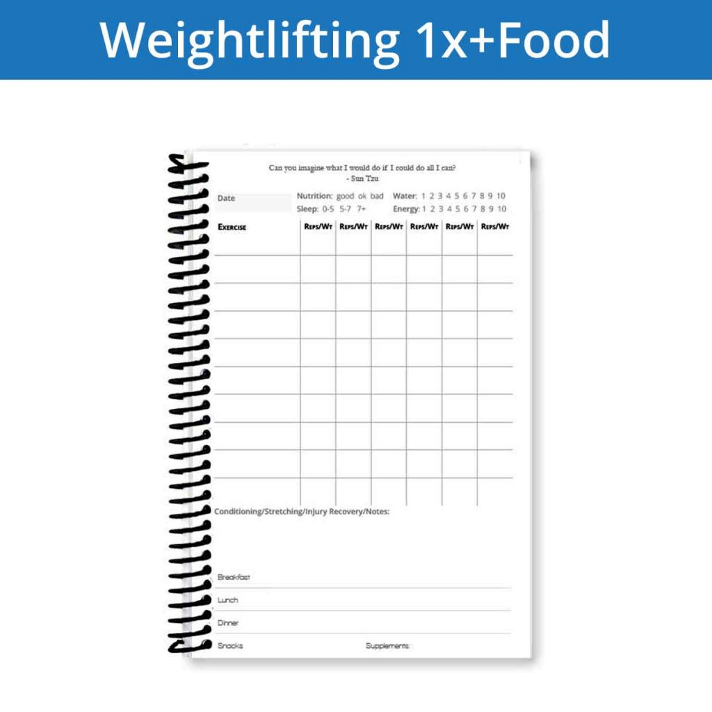 Record your nutrition with the weightlifting journal 1x + food page