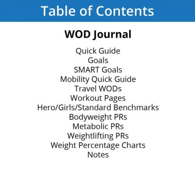 WOD journal table of contents