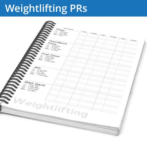 The Weightlifting PR table set of pages gives you a single place in your weightlifting journal to keep track of your progress