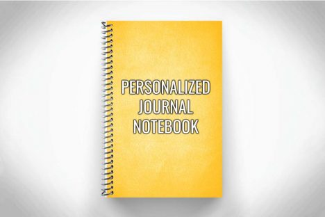 Yellow Personalized journal notebook on gray background