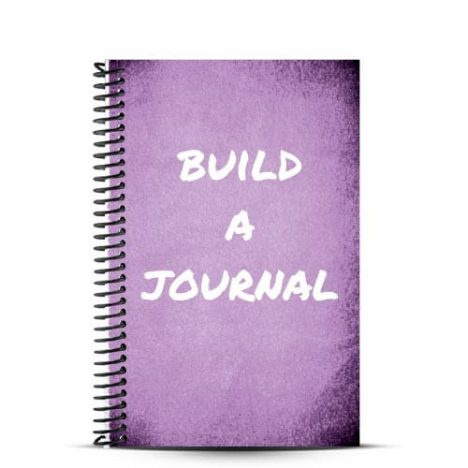 lavender journal cover with build a journal written on it