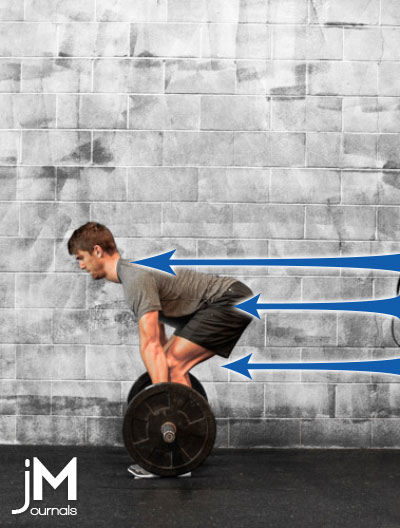 arrows pointing to different aspects of a good deadlift on male lifting barbell