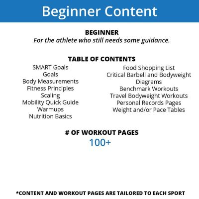 The beginner content of our workout journals is for athletes who still need some reminders of useful information but mostly want to track their workouts.