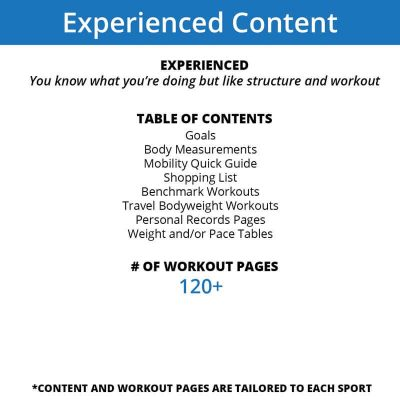 The experienced content of our workout journals strips out the information and includes just the necessary elements for recording your goals, benchmarks, personal records and workouts
