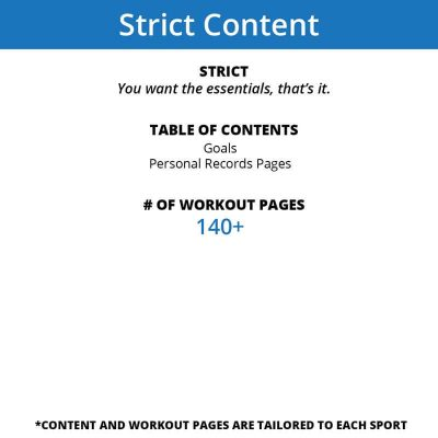 The Strict level of content in a workout journal only includes a goal page, personal records and workout pages, truly a journal of your accomplishments