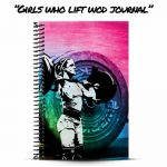 girls who lift wod journal cover with rainbow background on barbell