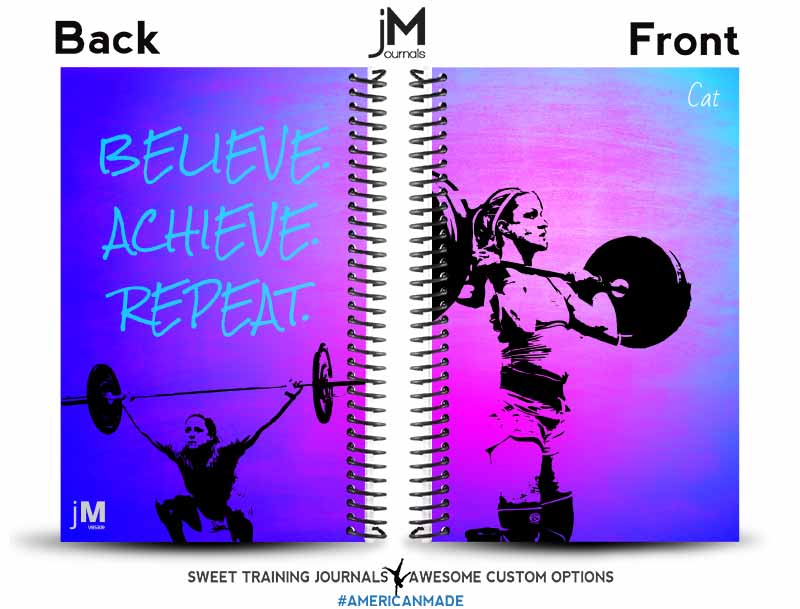 blue pink and purple custom training log cover with clipart and fitness inspiration