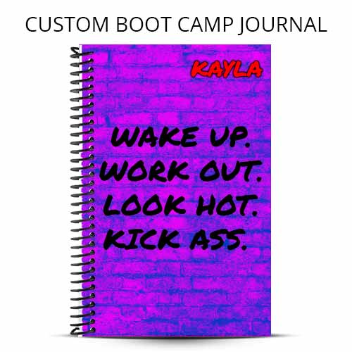 pink and purple custom boot camp journal cover with fitness inspiration wake up workout out look hot kick ass