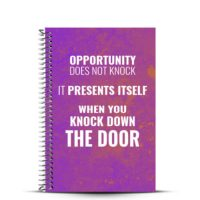Opportunity does not knock fitness journal cover