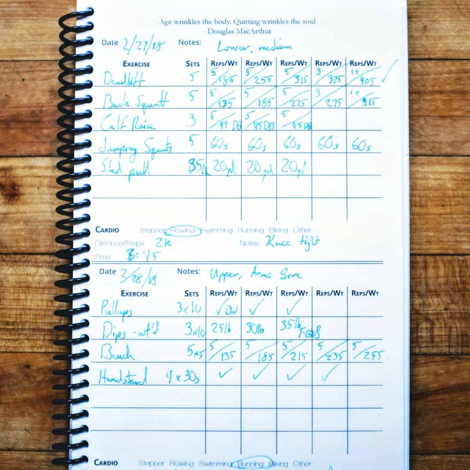 weightlifting journal workout page preview
