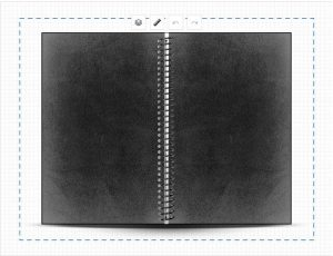 Troy created a very simple black and white cover for his personalized notebook